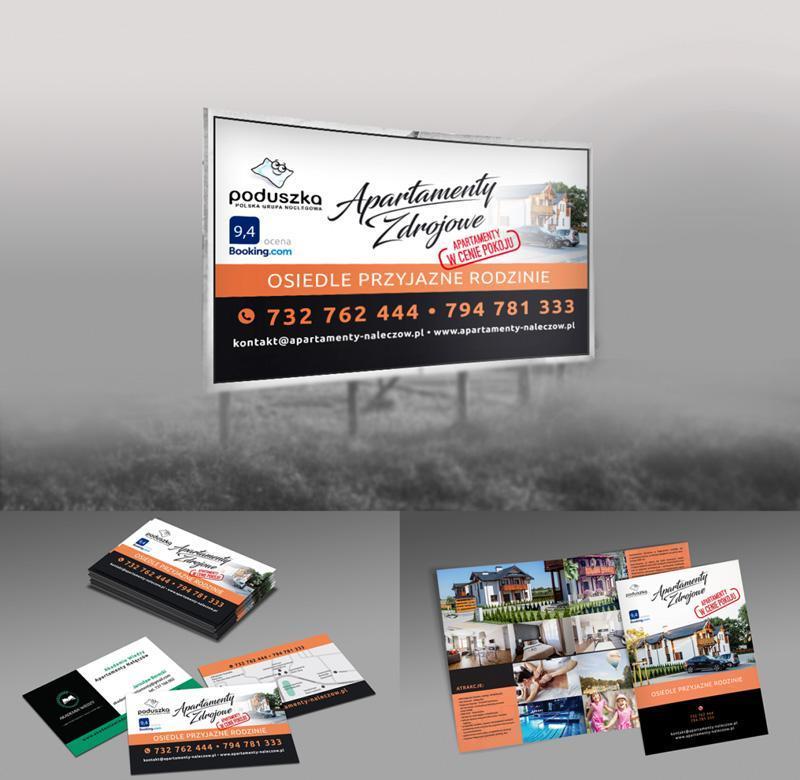 Fotografia przedstawiająca materiałów dla klienta Apartamenty Zdrojowe Nałęczów. Banery przy drodze, wizytówki, ulotki, gazetki reklamowe